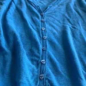 Zadig & Voltaire Sweaters - Zadig & Voltaire blue linen Henley w skull buttons